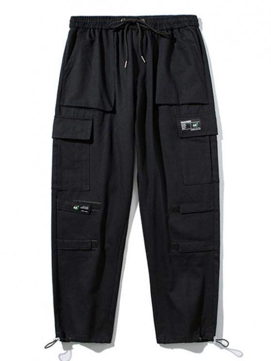 buy Hook and Loop Detail Applique Cargo Pants - BLACK S