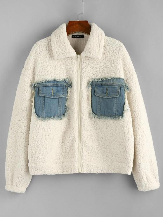 lady ZAFUL Denim Patchwork Drop Shoulder Teddy Coat - WHITE L