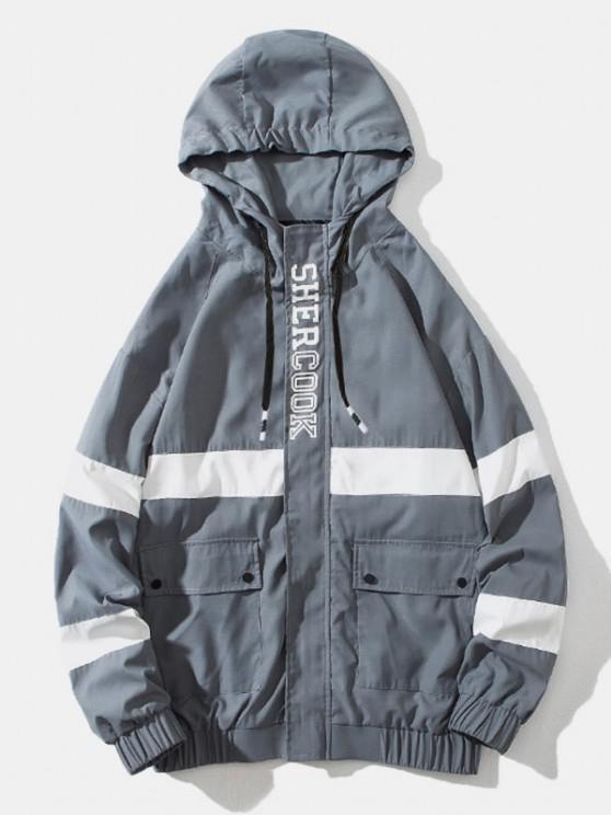 Colorblock Panel Letter Flap Pocket Hooded Jacket - اللون الرمادي L