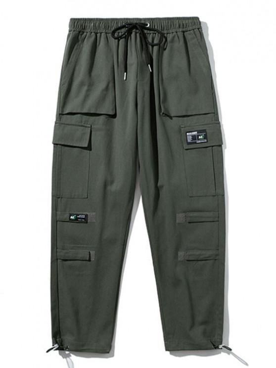 Pantalon Cargo Applique Au Crochet Détaillé - Gris Foncé L