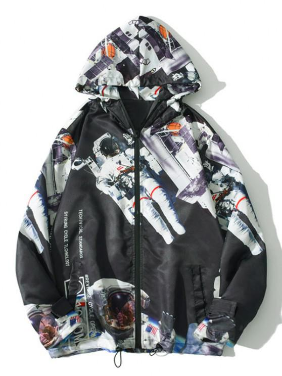 chic Hooded Astronaut Print Toggle Drawstring Jacket - BLACK XL