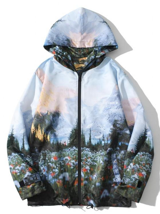 womens Hooded Mountain Forest Print Jacket - MULTI M
