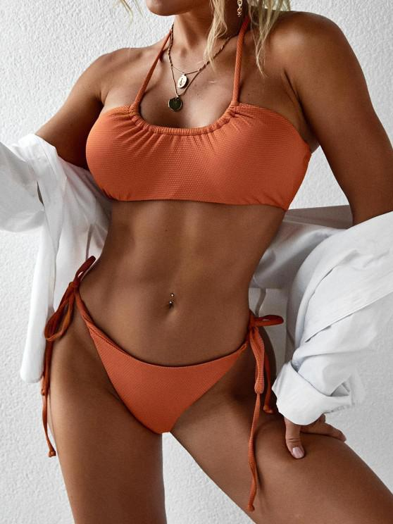 outfit Halter Self Tie High Cut Bikini Swimwear - DARK ORANGE M