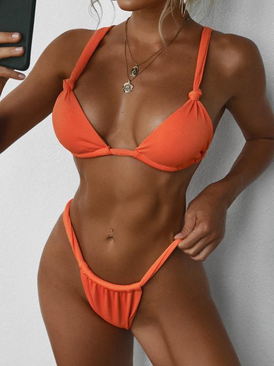 ZAFUL Ribbed Knot Plunge Bikini Swimwear - البرتقالي M