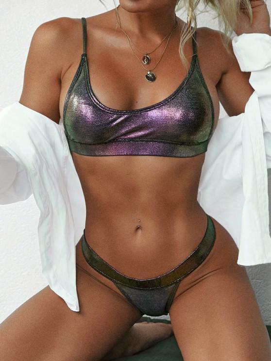 fashion ZAFUL Glitter Metallic Coated Disco Tanga Bikini Swimwear - CONCORD S