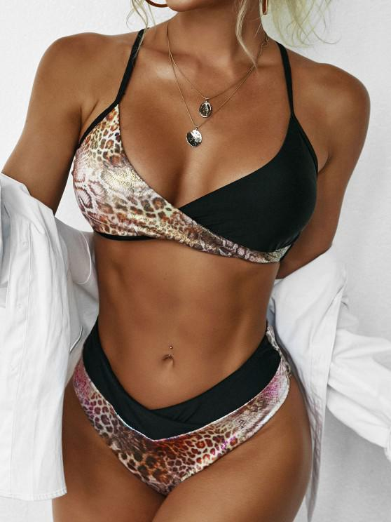 ZAFUL Metallic Snakeskin Criss Cross Surplice Bikini Swimwear - أسود M