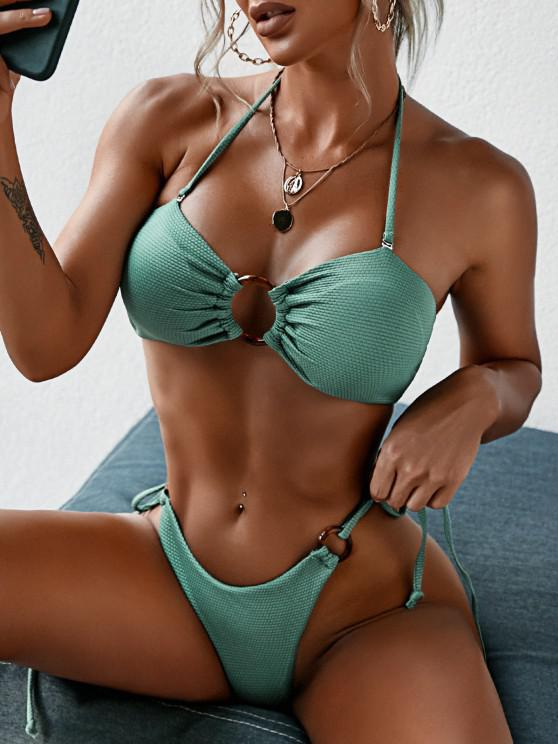 fancy ZAFUL Ring Textured Lace-up Tied Bikini Swimwear - LIGHT GREEN S