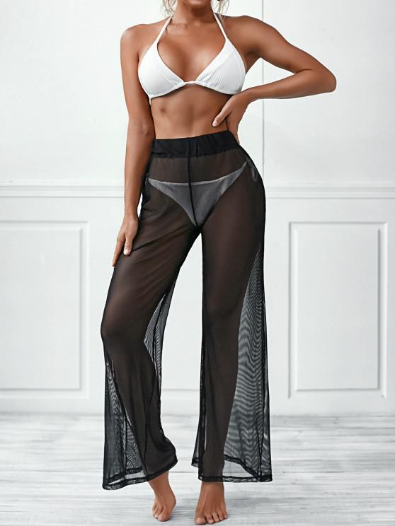 online Sheer Mesh Wide Leg Beach Pants - BLACK ONE SIZE