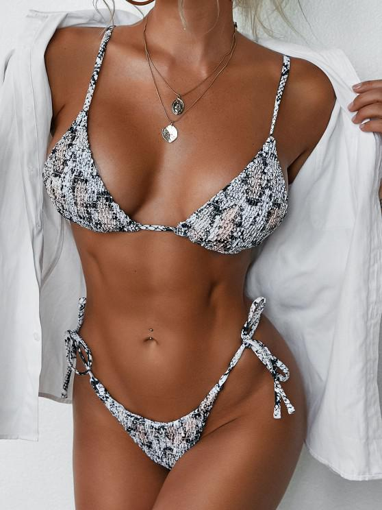 online ZAFUL Animal Print Smocked String Bikini Swimwear - CARBON GRAY M