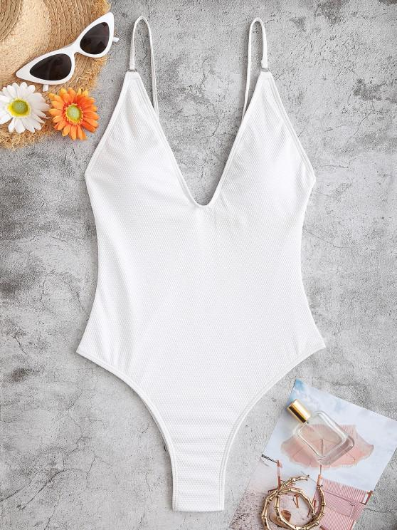 buy ZAFUL Textured One-piece Swimsuit - WHITE S
