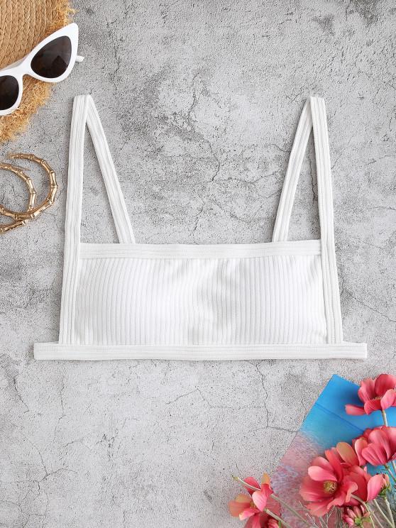 new ZAFUL Textured Ribbed Square Bikini Top - WHITE M