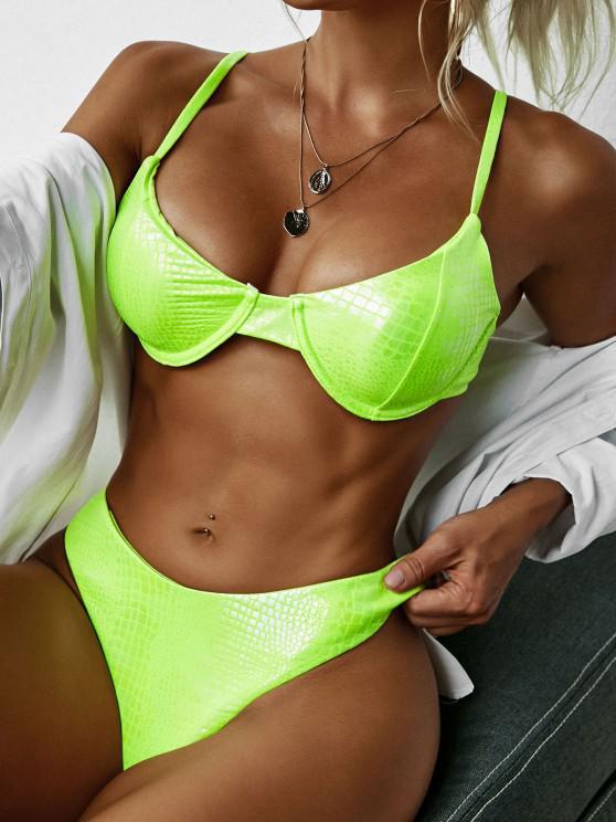 ZAFUL High Cut Snakeskin Coated Disco Bikini Swimwear - أخضر M