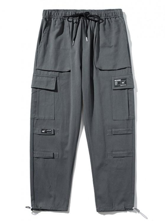 Hook and Loop Detail Applique Cargo Pants - اللون الرمادي M