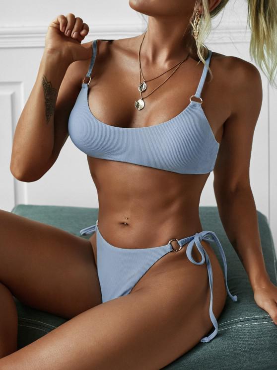 ZAFUL Ribbed Ring Tie Side Bikini Swimwear - أزرق فاتح S