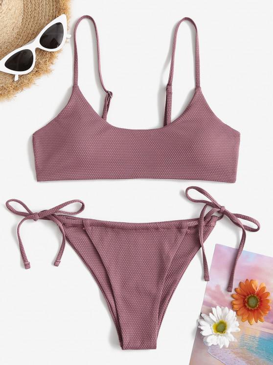 ZAFUL Textured Tie Side Bralette Bikini Swimwear - أرجواني S