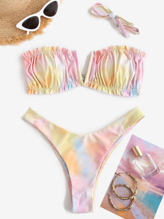 shop ZAFUL Tie Dye V-notch High Leg Bikini Swimwear - MULTI-C M