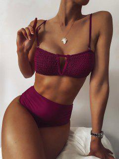 ZAFUL Maillot De Bain Bikini Plissé à Taille Haute à Armature En V - Prune M