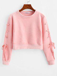 Samt Schnürung Sweatshirt - Rosa M