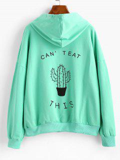 Letter Cute Cactus Hoodie - Aquamarine S
