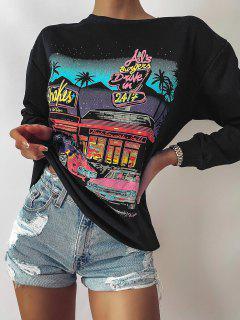 Letter Car Print Drop Shoulder Loose Sweatshirt - Black M