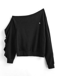 ZAFUL Ruffle Skew Neck Sweatshirt - Black L