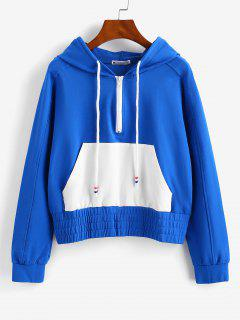 ZAFUL Raglan Sleeve Half Zip Pocket Hoodie - Blue L