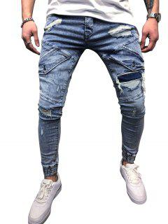 Destroy Wash Scratch Patchwork Beam Feet Jeans - Light Blue 36