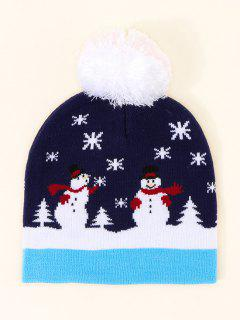 Christmas Snowman Pattern Pom Pom Hat - Cadetblue