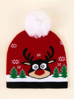 Christmas Elk Pattern Pom Pom Hat - Lava Red