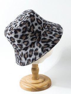 Leopard Print Fuzzy Bucket Hat - Slate Gray