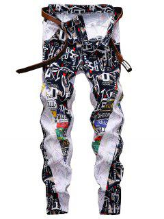 Letter Graphic Patchwork Zip Fly Denim Pants - White 34
