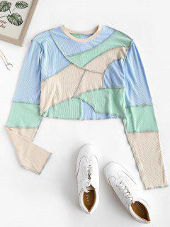 Colorblock Ribbed Topstitch Crop Tee - Light Blue S
