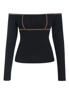 ZAFUL Ribbed Contrast Binding Off Shoulder T Shirt - Black S