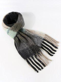 Plaid Pattern Fringe Fuzzy Scarf - Slate Gray