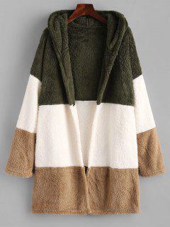 Hooded Color Blocking Fluffy Drop Shoulder Coat - Multi L