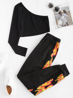 Ribbed One Shoulder Flame Print Joggers Set - Black S