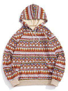ZAFUL Tribal Geometric Pattern Colorblock Hoodie - Multi S