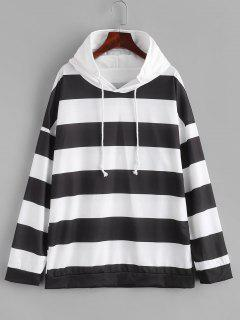 Two Tone Striped Drop Shoulder Hoodie - White M