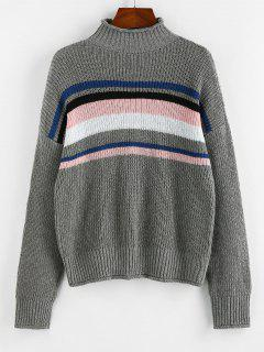 ZAFUL Striped High Neck Rolled Trim Sweater - Gray L
