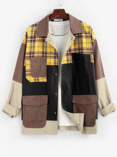 ZAFUL Plaid Pocket Patchwork Colorblock Panel Shirt Jacket - Multi-b 2xl