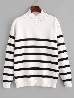 Jersey Cuello Alto Manga Larga Rayado - Blanco M