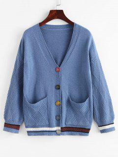 Single Breasted Drop Shoulder Striped Pocket Cardigan - Light Blue