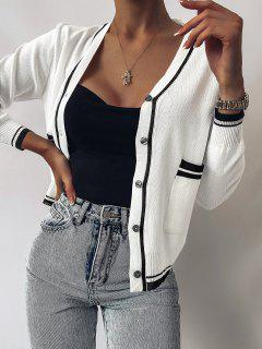 Plunge Contrast Knit Pocket Cardigan - White