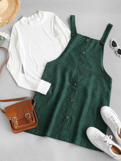 Rib-knit Top And Corduroy Overall Dress - Green S