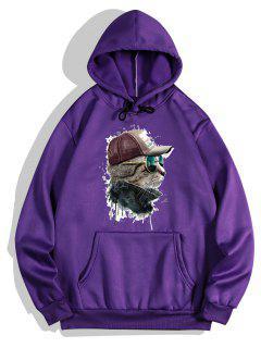 Front Pocket Cat Paint Print Fleece Hoodie - Purple Iris 2xl