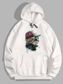 Front Pocket Cat Paint Print Fleece Hoodie - White 2xl