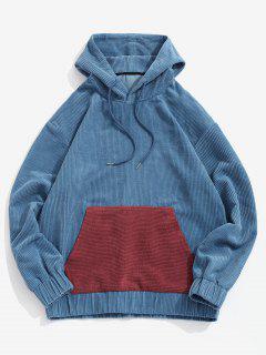 Farbblock Patchwork Tasche Kord Hoodie - Tiefes Blau L