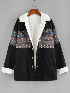 ZAFUL Faux Fur Lined Corduroy Tribal Pocket Jacket - Black S