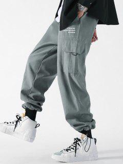 Letter Print Patch Flap Pocket Beam Feet Pants - Gray Xl