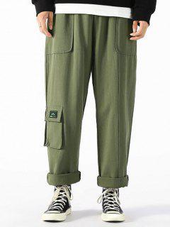 Pantaloni Casuali Con Applicazioni E Coulisse - Verde Dell'esercito S
